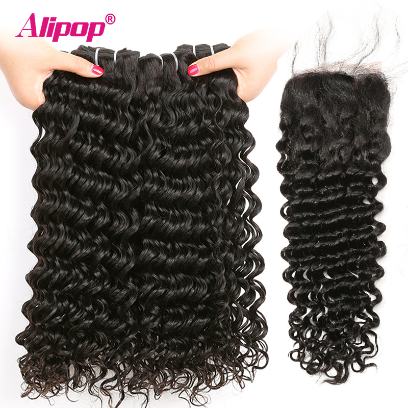Alipop Brazilian Deep Wave Bundles With Closure Human Hair 234 Bundles With Closure 8-28 Inches Remy Hair Bundles With Closure (38)