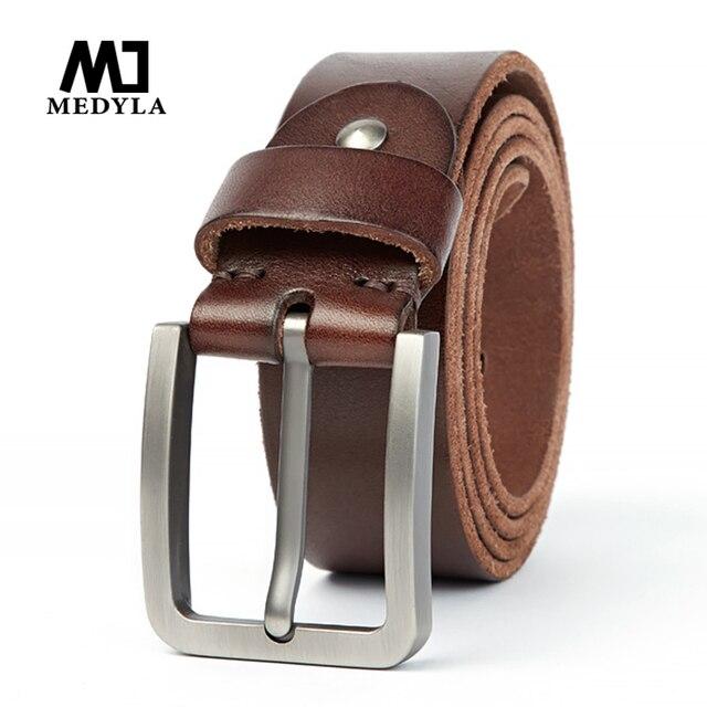 Medyla天然皮革男性ベルト品質素材頑丈なスチールバックル革ベルトのための適切なジーンズカジュアルパンツ