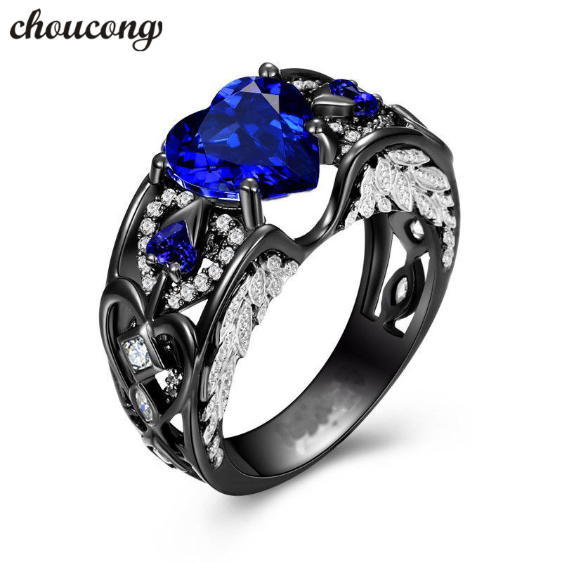 Choucong Aile D'ange anneau Noir Or Rempli 925 argent Anniversaire Wedding Band Anneaux Pour Femmes Rond Coeur cut 5A zircon bijoux
