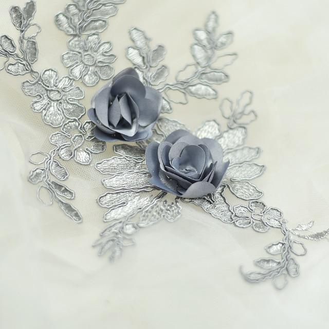 2pcs 15 25cm beaded lace applique for wedding dress Floral rhinestone lace  appliques decoration patch accessories for bridesmaid 57fb29196eaf