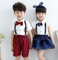 2016 summer children's clothes boys sets sets solid bow  school show sets for boys girls kids short sleeve strap suits