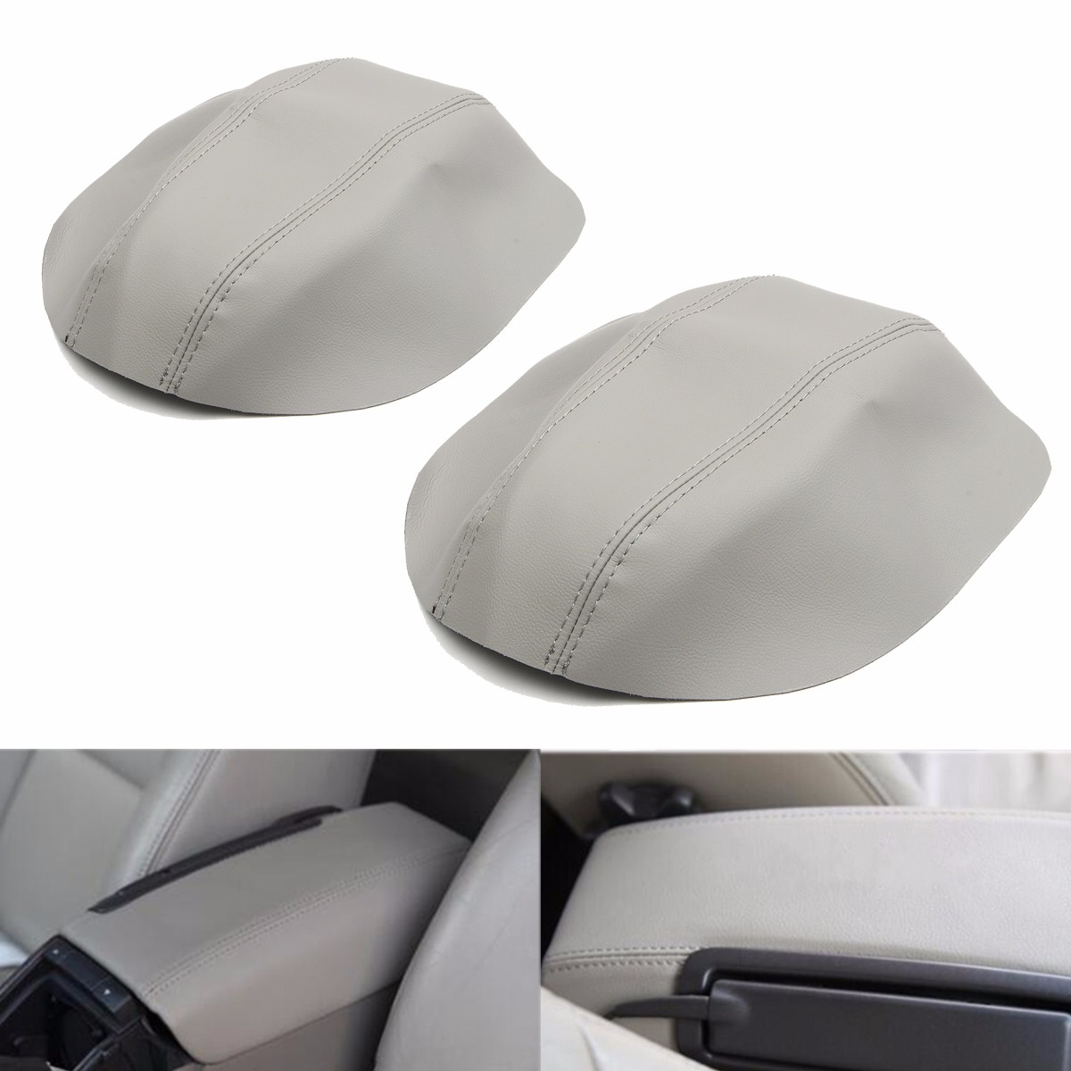 gray leather car center console armrest cover lid pad for volvo s80 1999 2006 auto car. Black Bedroom Furniture Sets. Home Design Ideas