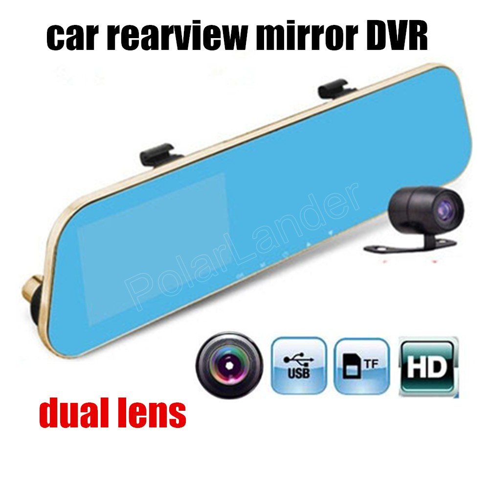 Full HD 4.3 inch 1080P Car DVR Review Mirror Digital Video Recorder Auto Registrator Camcorder with rear camera dual lens image