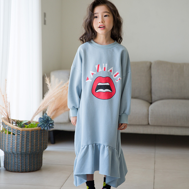 New Girls Autumn Winter Kids Cartoon Printed Casual Dress 100% Cotton Long-Sleeve Teens Girl Dress for Children 3-14Years CA470 ems dhl free shipping little girls kids children autumn winter faux fur waist one piece dress casual summer dress new tulle
