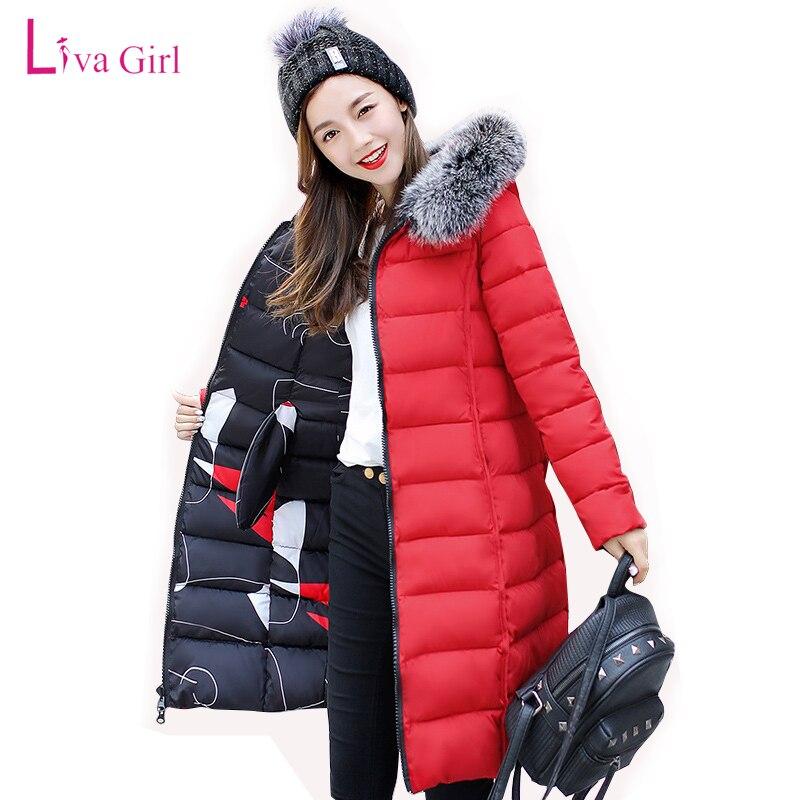 New Winter Womens Down Jackets Fur Hooded Duck Down Parka Solid Black Long Coat Hooded Warm Parkas Hight Quality Feminino