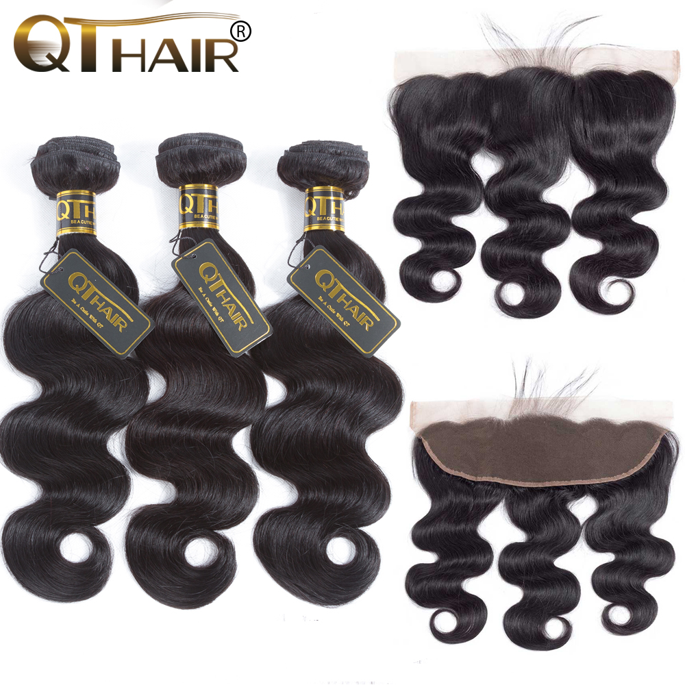 QT Hair Malaysian Body Wave Hair 3 4 Bundles With Lace Frontal Human Hair Bundles With