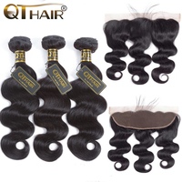QT Hair Malaysian Body Wave Hair 3/4 Bundles With Lace Frontal Human Hair Bundles With Frontal Non Remy Hair Bundles Black Color