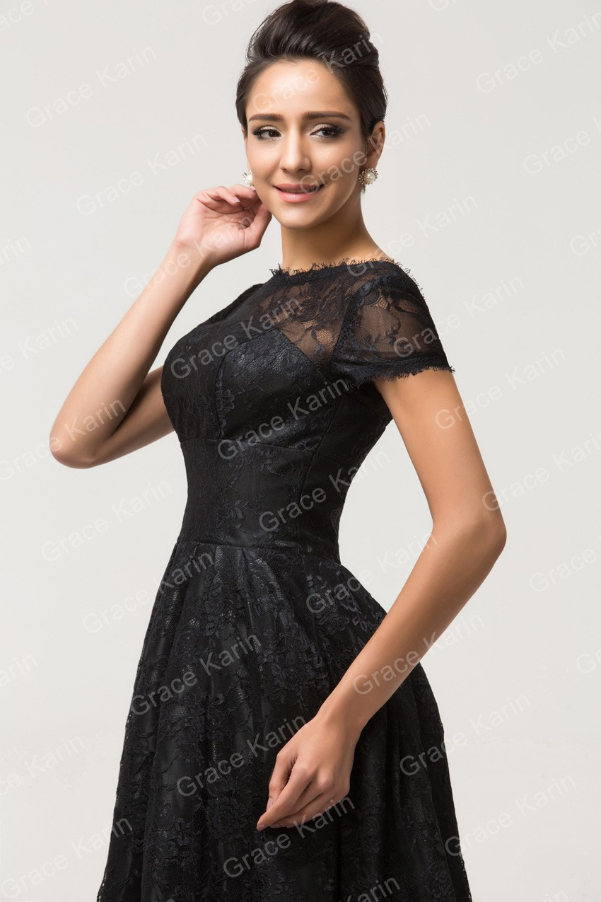 Popular Grace Karin Short Sleeve Black Lace Prom Dresses Knee Length ... 904afacf1c86