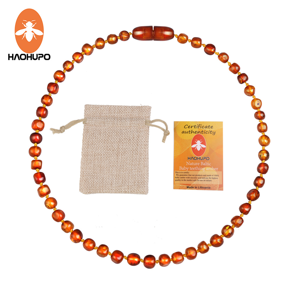 Hao Hu Po Classic Original Baltic Amber Teething Necklace Iron Thread Clasps Safe and Durable Certificate with Jute Bag(China)