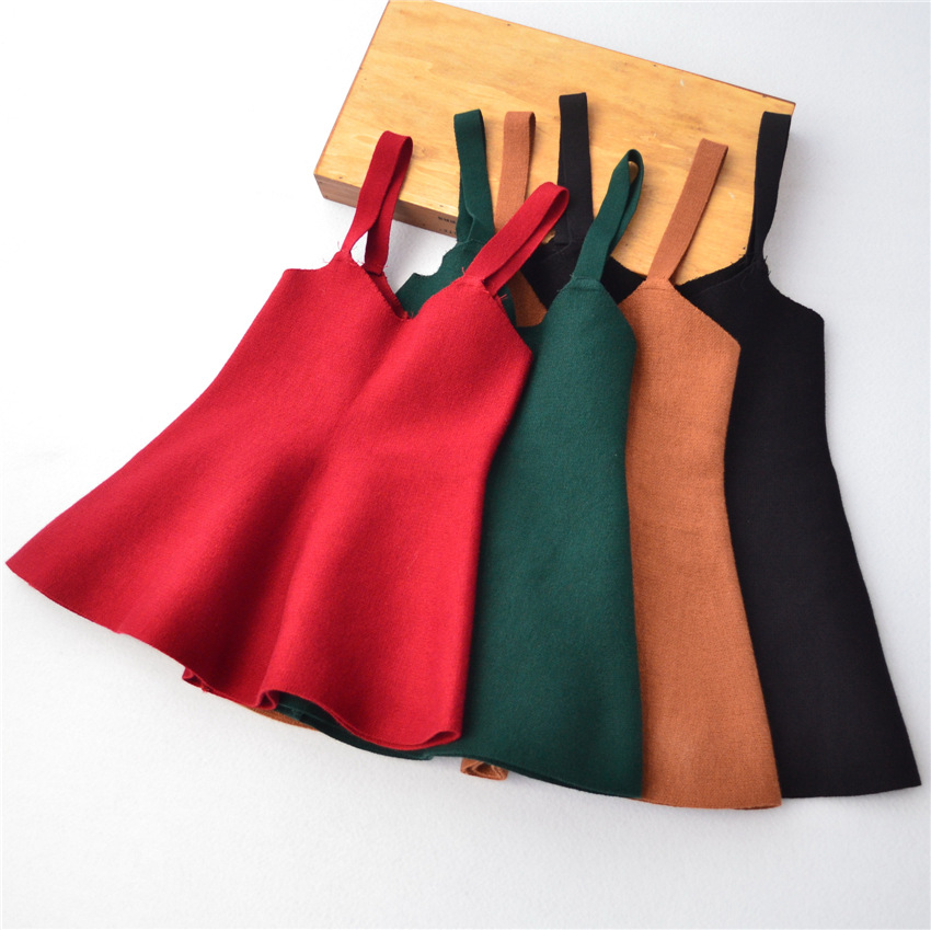 Autumn 2017 New Baby Girls V-neck Dress Children Overalls Dress Kids Sundress Toddler Knit Dress Not Contain Shirt,2-7Y,#2341 платье для девочек unbrand baby v 2 6 kids dress