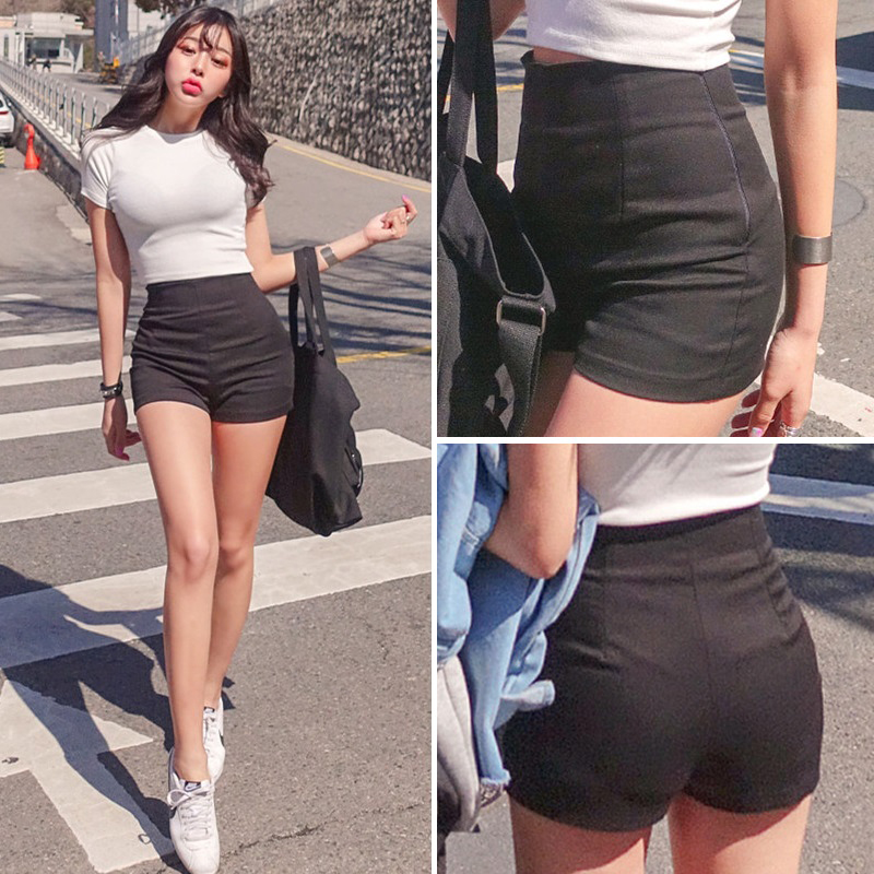 High Quality Fashion Black Shorts Female 2019 New Slim Slimming Tight Stretch Cotton Sexy High Waist Tight White Shorts Female