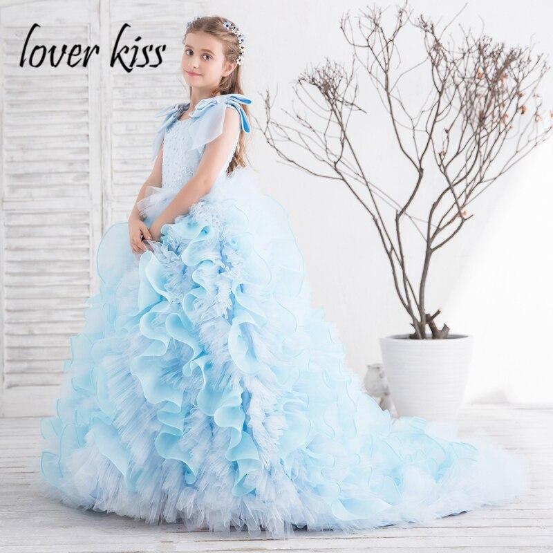 Lover Kiss Vestidos Comunion Ninas Luxury Beaded Blue Pageant Dress ...