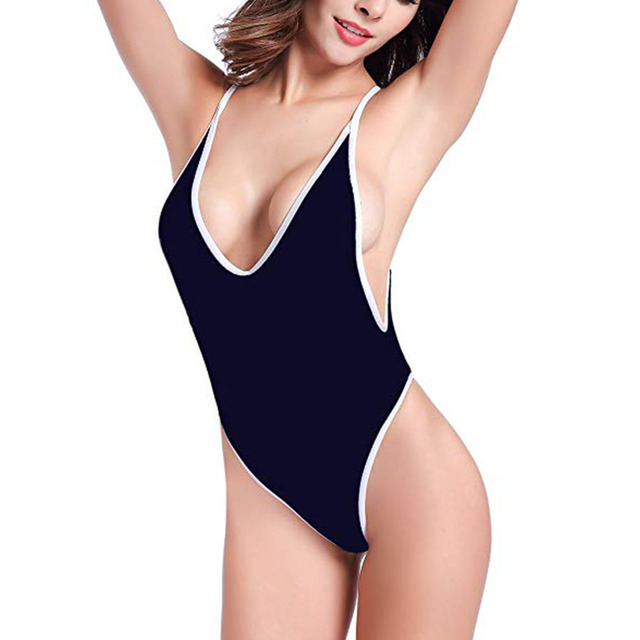 1103f33aed Sexy Deep V Monokini 2019 New Plus Size Women One Piece Swimwear High Cut  Thong Swimsuit