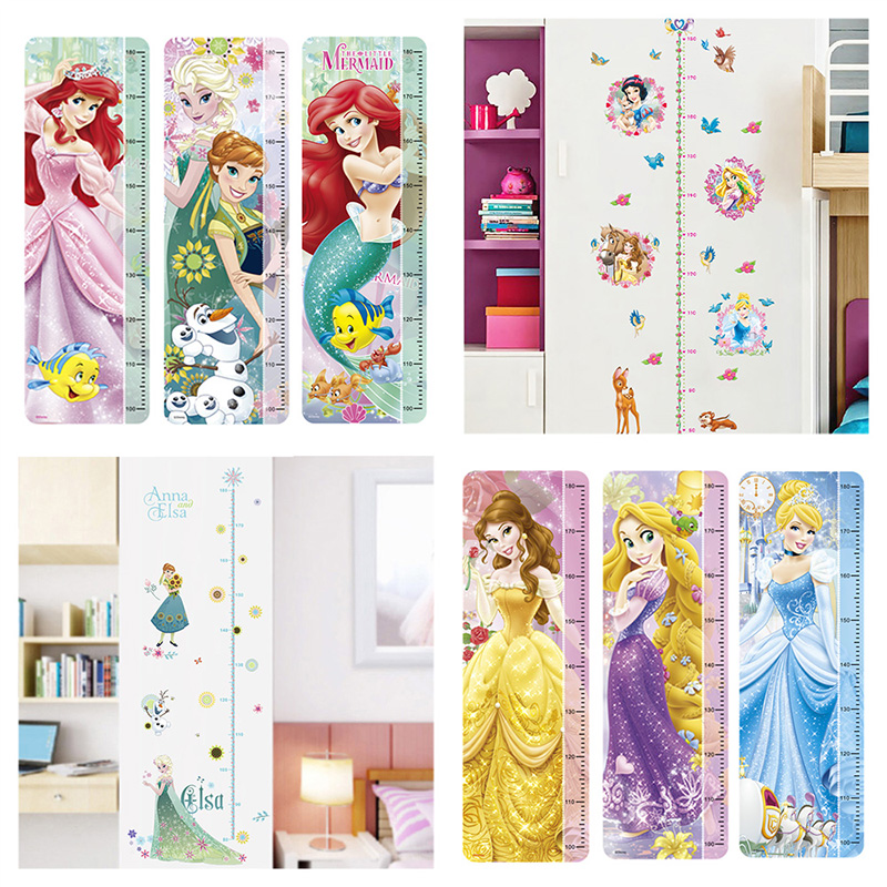 Snow White Mermaid Rapunzel Cinderalle Belle Princess Growth Chart Wall Stickers Home Decor Kids Height Measure Mural Art Decals Полка