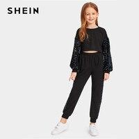 SHEIN Kiddie Black Sequin Panel Crop Preppy Pullover And Pants Set Girls Suit Sets 2019 Spring Korean Bishop Sleeve Casual Sets