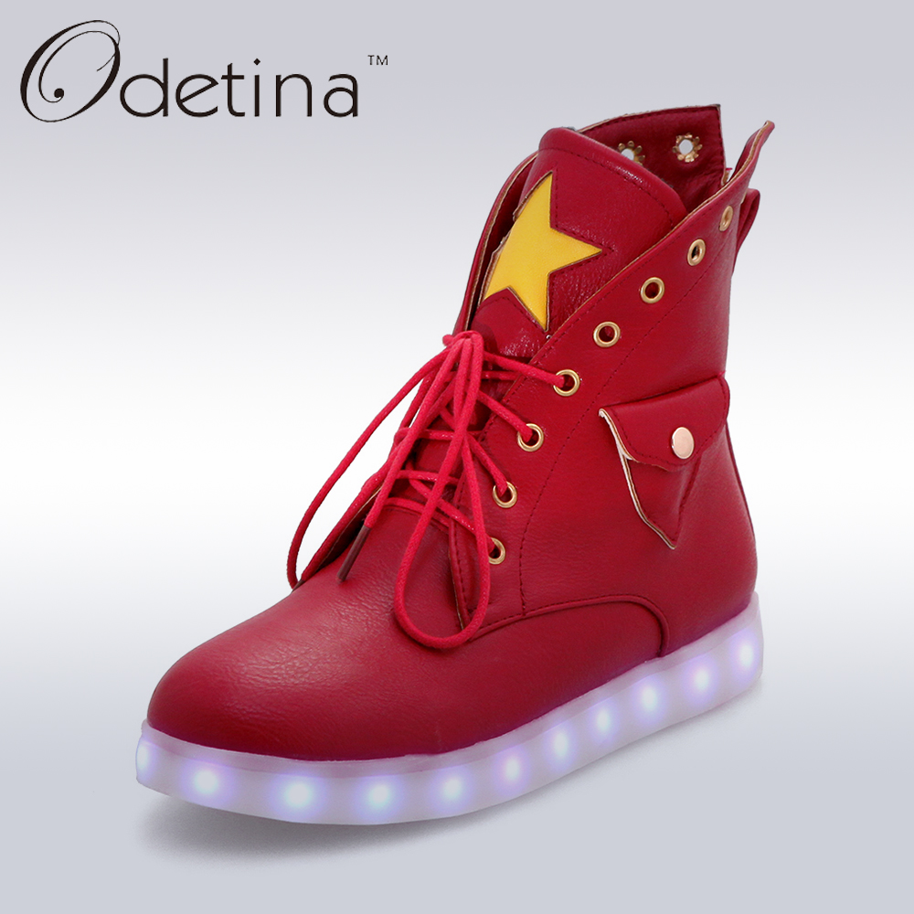Odetina Lager Size 2017 Women Lace Up Light Up Shoes For Adults Led Ankle Boots Usb High Top Glowing Luminous Breathable Botas glowing sneakers usb charging shoes lights up colorful led kids luminous sneakers glowing sneakers black led shoes for boys