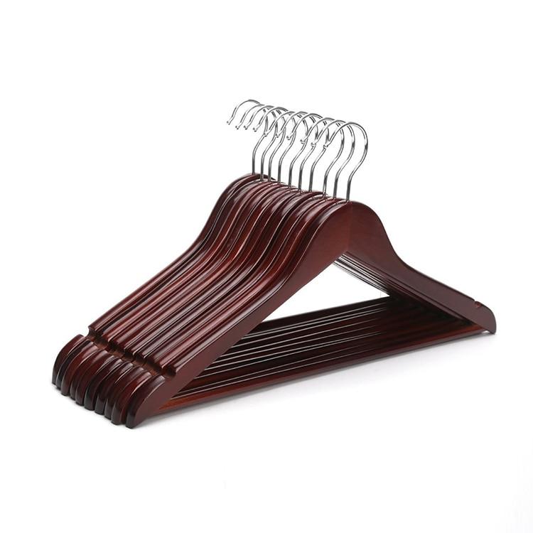 Hangerlink Red Mahogany Wood 17 Inch Suit Hangers Burgundy Hanger 12 pieces lot