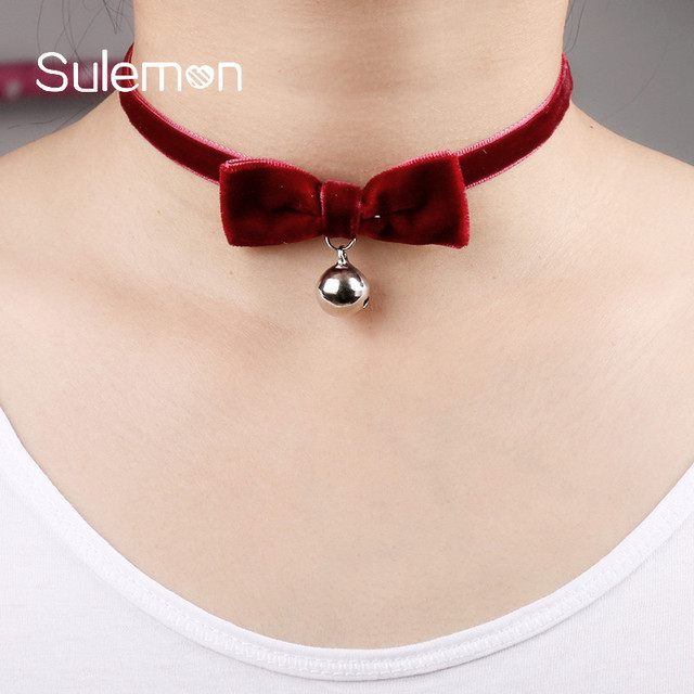 Red Velvet Bow Tie Bell Choker Necklace Fashion Ribbon Pendant Chokers Necklaces Women Clic Y Jewelry Cn24
