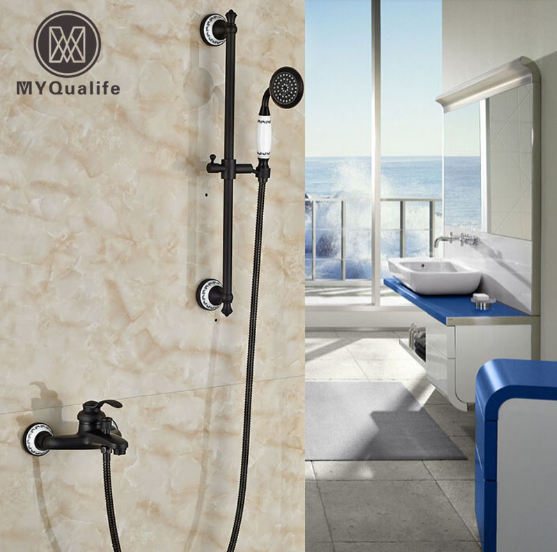 Single Handle Bathroom Tub Shower Faucet Set with Slide Bar Wall Mount Bath Shower Mixer Tap with Handshower