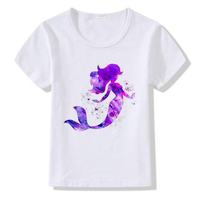 91225df61e 2018 Cute Colorful Mermaid Printed Tshirt Kids Unicorn Design Children  Summer Tops Baby Girls Short Sleeve T shirt Clothes