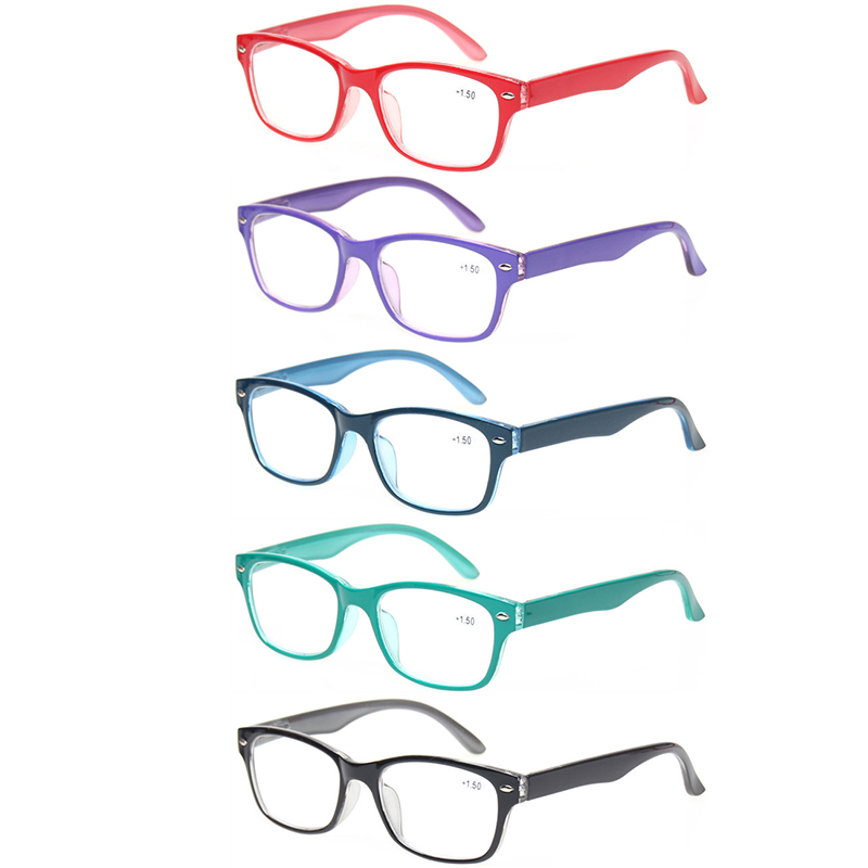 18e6dc1e8dc0 5 pack Reading Glasses for Men and Women Spring Hinge oval frames colorful  readers quality eyeglasses