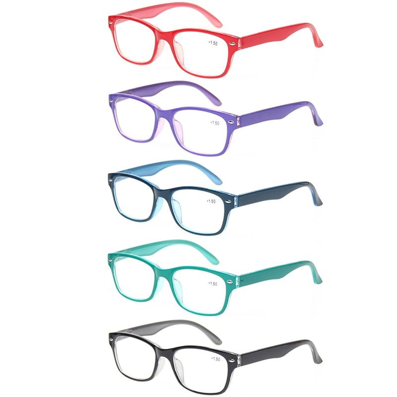 Paquete de 5 gafas de lectura para hombres y mujeres. Bisagra de primavera. Marcos ovalados. Lectores de colores. Anteojos de calidad 0.5 a 6.0.