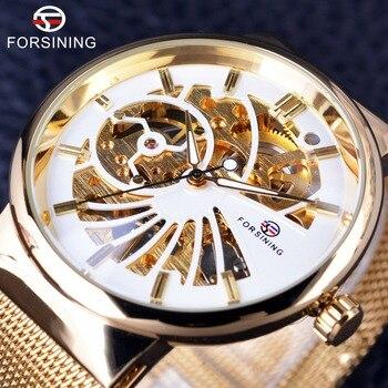 Forsining 2017 Luxury Golden Skeleton Neutral Design Women Mens Watches Top Brand Luxury Stainless Steel Waterproof Wristwatches 2017 luxury 100