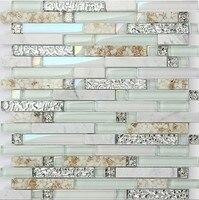 Натуральный Мрамор мозаика смешанных оболочки, кухни и ванной комнаты Душ, переливающийся Стекло мозаика, домашние тапочки стены DIY Декор п