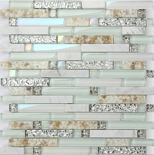 Natural Marble mixed shell mosaic,kitchen bathroom shower sticker,Iridescent Glass mosaic,home floor wall DIY decor tiles,LSBK55