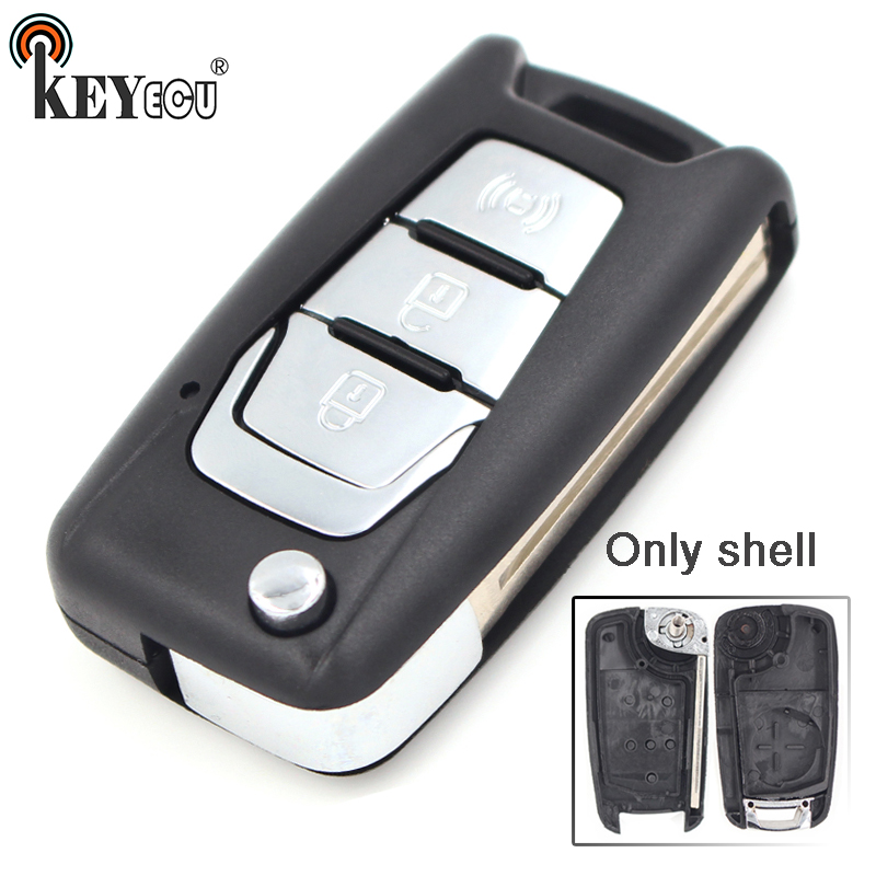 KEYECU 10x for SsangYong Korando New Actyon C200 Replacement 3 Button Flip Folding Remote Car Key Shell Case Blank image
