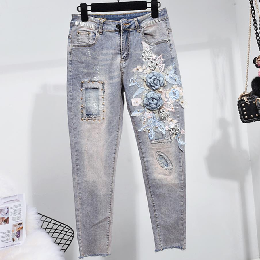 Beading Elastic Ankle-Length High Waist Jeans Woman Skinny Pencil Stretch All Matched Casual Pants Vintage Flower Skinny Jean