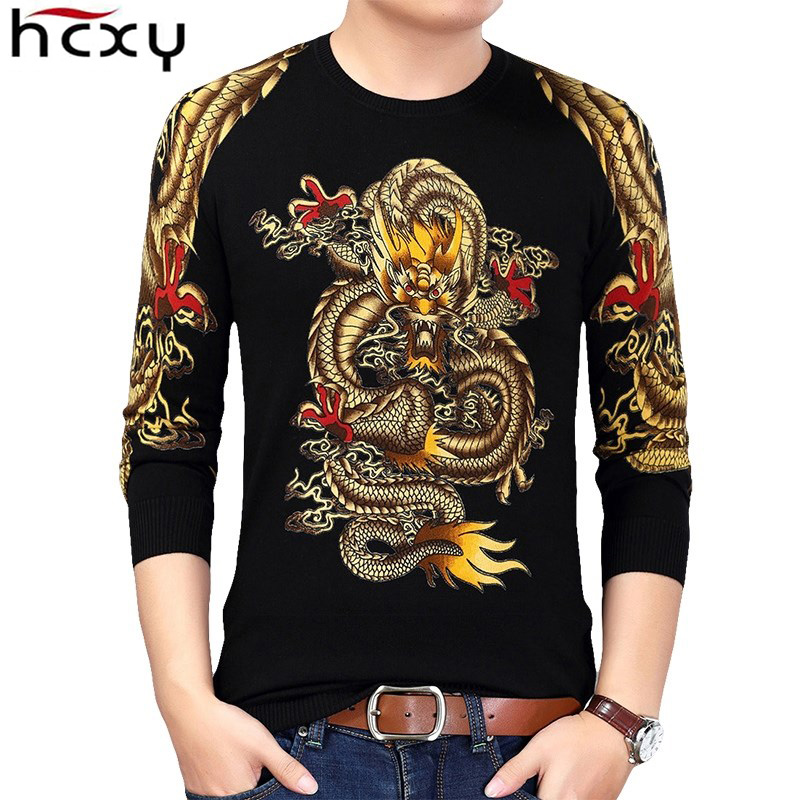 HCXY 2018 Winter Chinese Style Gold Dragon Print Pullover Sweaters Men  Knitted Sweater Male Quality Knitted Brand Male Sweaters