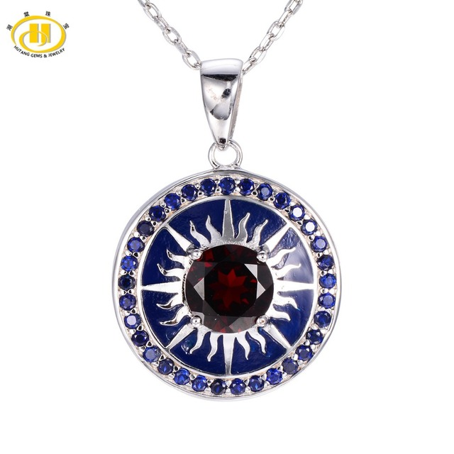 Hutang Round 8mm Natural Garnet Enamel Pendant 925 Sterling Silver Necklace Chinese Element Vintange Fine Jewelry Women's