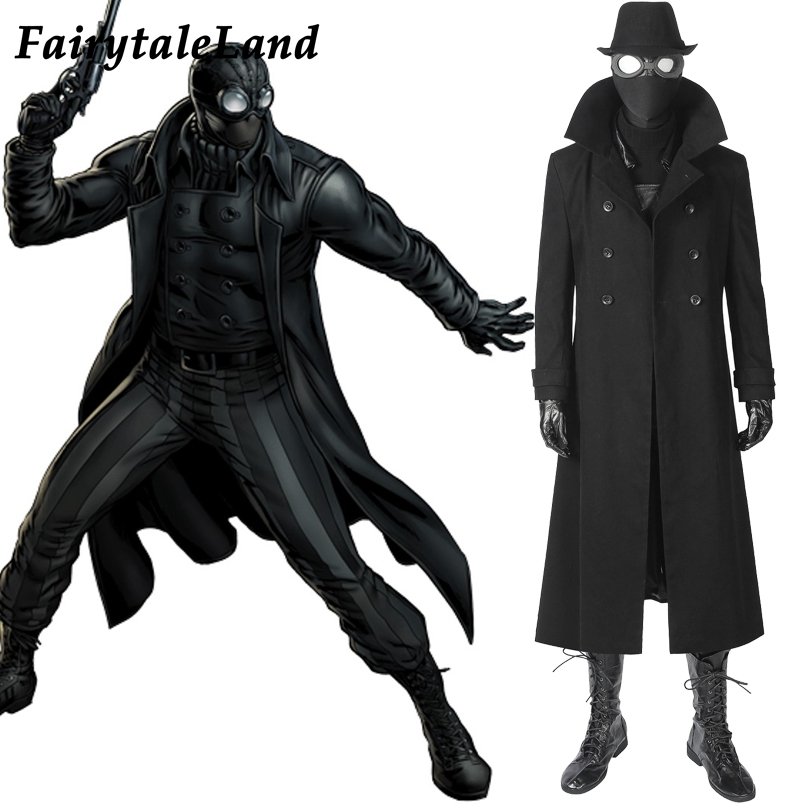 Spider-Man Noir Cosplay Costume Spider-Man Into the Spider-Verse Carnival Halloween Costume Spiderman Jacket Noir suit reflection