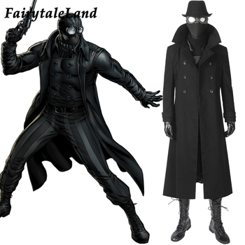 Spider-Man Noir Cosplay Costume Custom made Carnival Halloween Costume Cosplay Spider-man Black costume Mask Noir suit buddhist rope bracelet