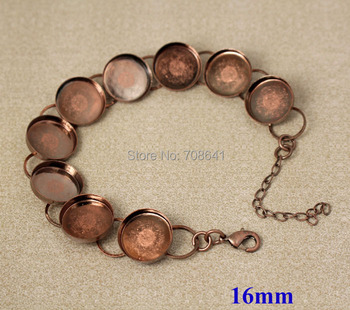 16mm Antique Copper Plated Brass Round Deep Wall Bezel Blank Bases Link Chain Bracelet Settings Findings Wholesale