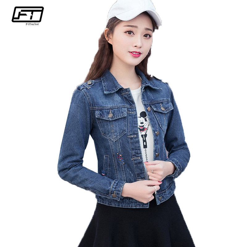 Fitaylor Denim Jacket Women Casual Vintage Jackets Jeans Female Caot Turn-down Collar Long Sleeve Spring Autumn Ladies Outerwear