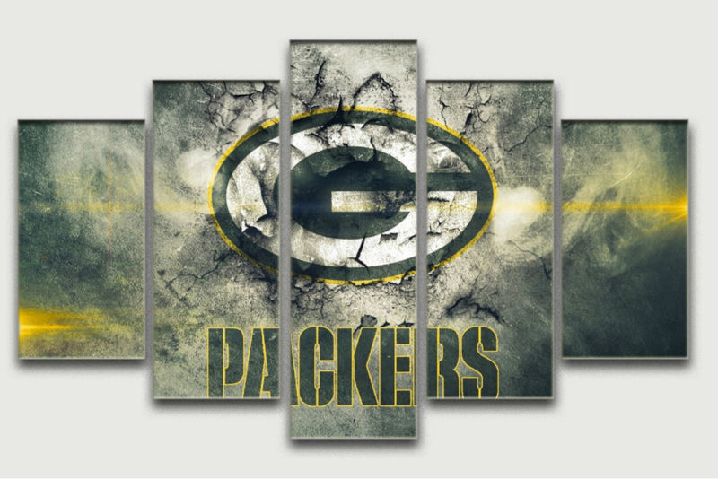New Hot Sale 5 Panel Large Hd Print Oil Painting On Canvas Green Bay Packers Home Decoration