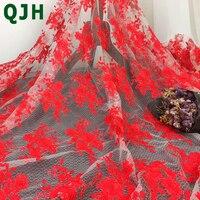エレガントなドレス1ヤードダイヤモンド糸赤いラインレース刺繍生地スイスレースチュールメッシュ刺繍布のために使用YX605