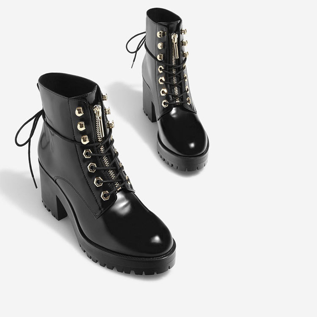 398b8930f0589 Teahoo Winter Black Patent Leather Women Boots Lace Up Ankle Boots For Women  Fashion Street Style High Heel Platform Shoes Women