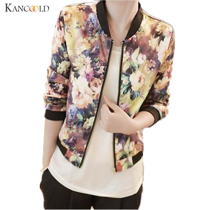 Casual Spring Autumn New Women basic jackets Stand Collar Long Sleeve Zipper Floral Printed bomber jacket women coat SEPP26
