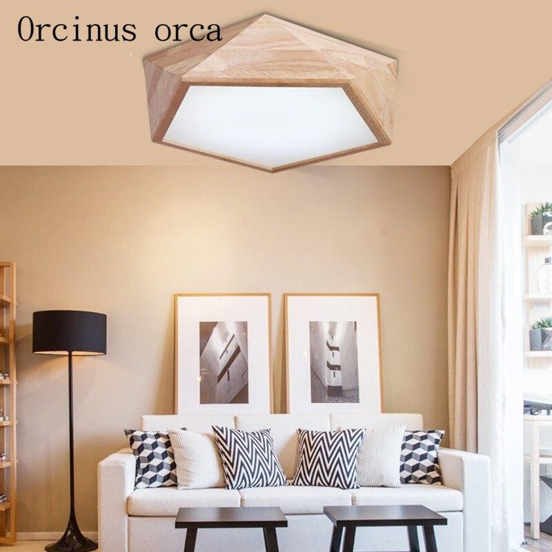 US $142.2 10% OFF|Nordic kurze moderne holz led geometrie decke lampe  wohnzimmer schlafzimmer kreative holz decke lampe freies verschiffen-in ...