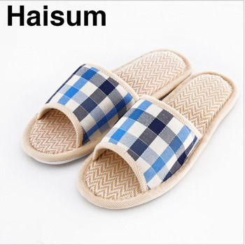 e2d5df27 New England men's linen plaid slippers cotton tow linen couple indoor  slippers sandals and slippers (can be wholesale) CTC01