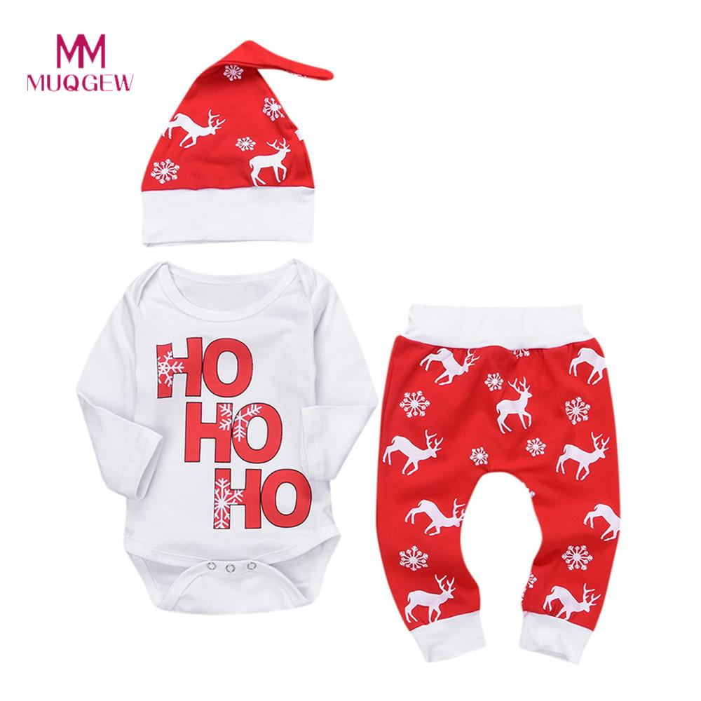 Lovely Three-Piece Children's Clothing Set Xmas Newborn Baby Boy Girl Romper Tops+Pants Christmas Deer Snowflake Outfits Set недорго, оригинальная цена