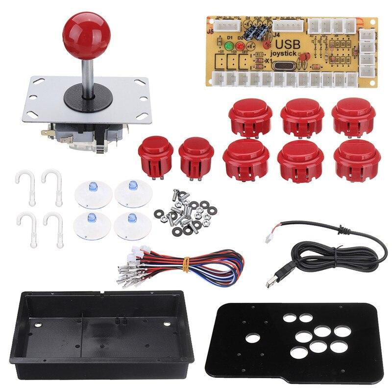 DIY PC Arcade Joystick Kits USB Codeur Conseil Avec 2Pin Joystick Câble + 8 Boutons Acrylique Panneau Cas Jeu Console ArcadeJoysticks