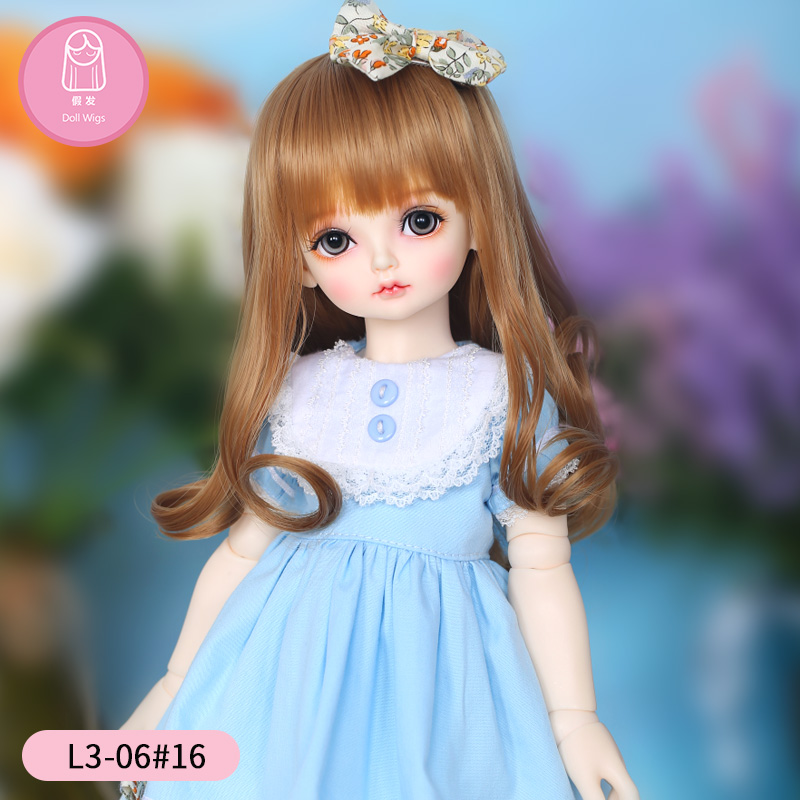 Wig For Doll BJD Long Curly 8.6 Inch 1/4 Doll BJD RL Doll Holiday Ribbon Lovely Wig In Beauty The Princess Hair L3-06#16color