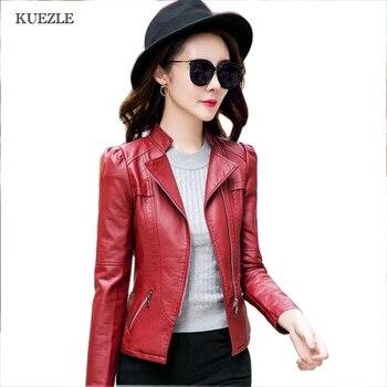 Faux Leather Faux Leather Streetwear Coat 2018 Fashion Spring PU Leather Jacket Women Short Outerwear Wine Red Jackets Female фото