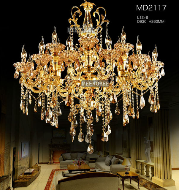 Big 18 arms gold crystal chandelier lighting large crystal lustre big 18 arms gold crystal chandelier lighting large crystal lustre light fixture with top class k9 aloadofball Choice Image