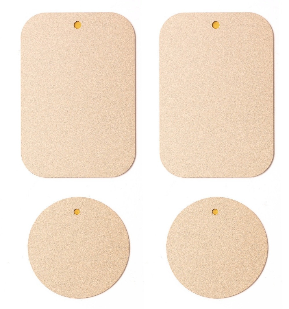 APPS2Car Metal <font><b>Plate</b></font> with 3M Adhesive for <font><b>Magnetic</b></font> Car Mount <font><b>Phones</b></font>/Tablet/GPS <font><b>Holder</b></font> Apple Gold Color [2 Rectangular 2 Circle]