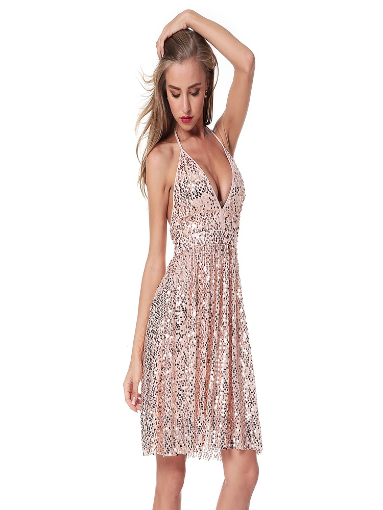 Women's Deep V-neck Silver Sequined Backless Sexy Dress Women's Off-Shoulder Mini Dress Short Christmas Party Club Strap Dress V image